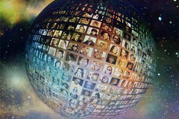 graphic of a globe made up of lots of human faces